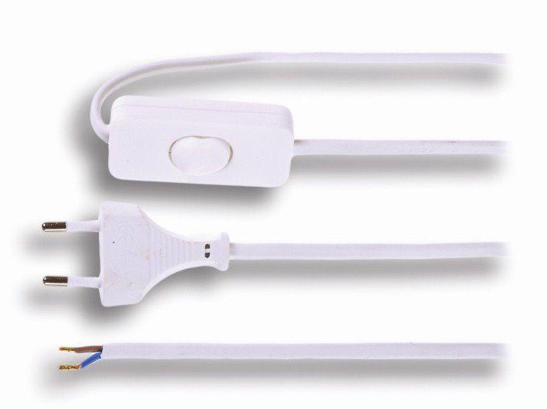 Flexo šňůra 2 x 0,75 mm2 bílá, plochá, 3m s vypínačem