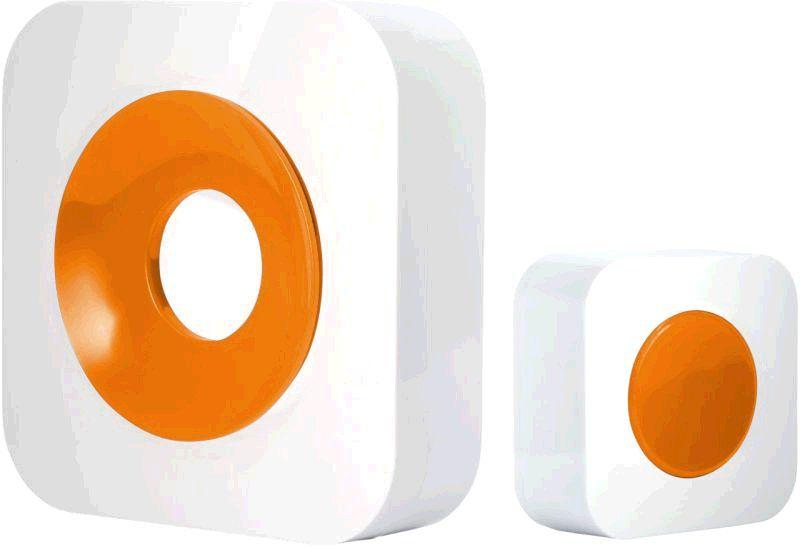 Optex 990229 Bezdrátový designový barevný zvonek bílá/oranžová s dlouhým dosahem