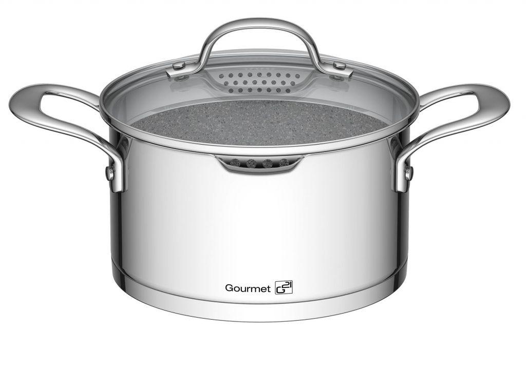 Sada nádobí G21 Gourmet Miracle s cedníkem,nerez/greblon - 9 dílů