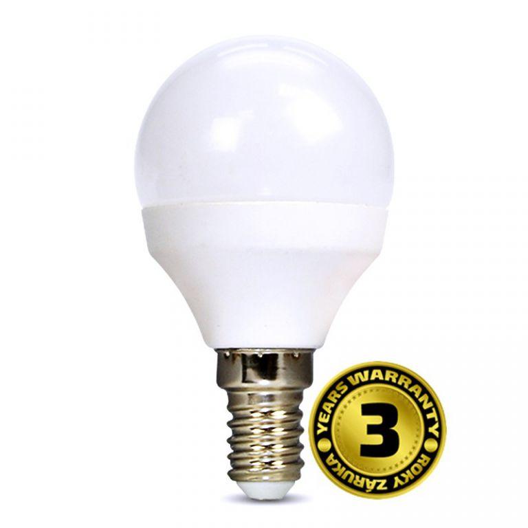 Žárovka Solight WZ416 miniglobe, 6W, E14, 3000K, 450lm, bílé provedení