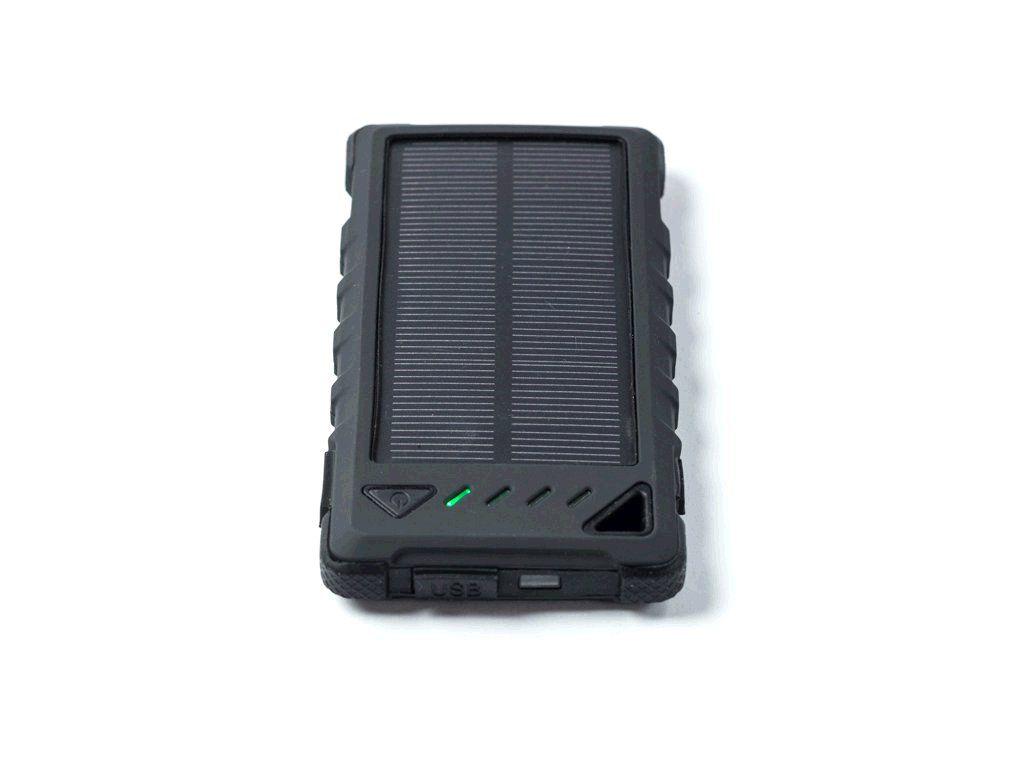 DOCA Powerbank Solar 8 8000 mAh, solární panel, svítilna, černá