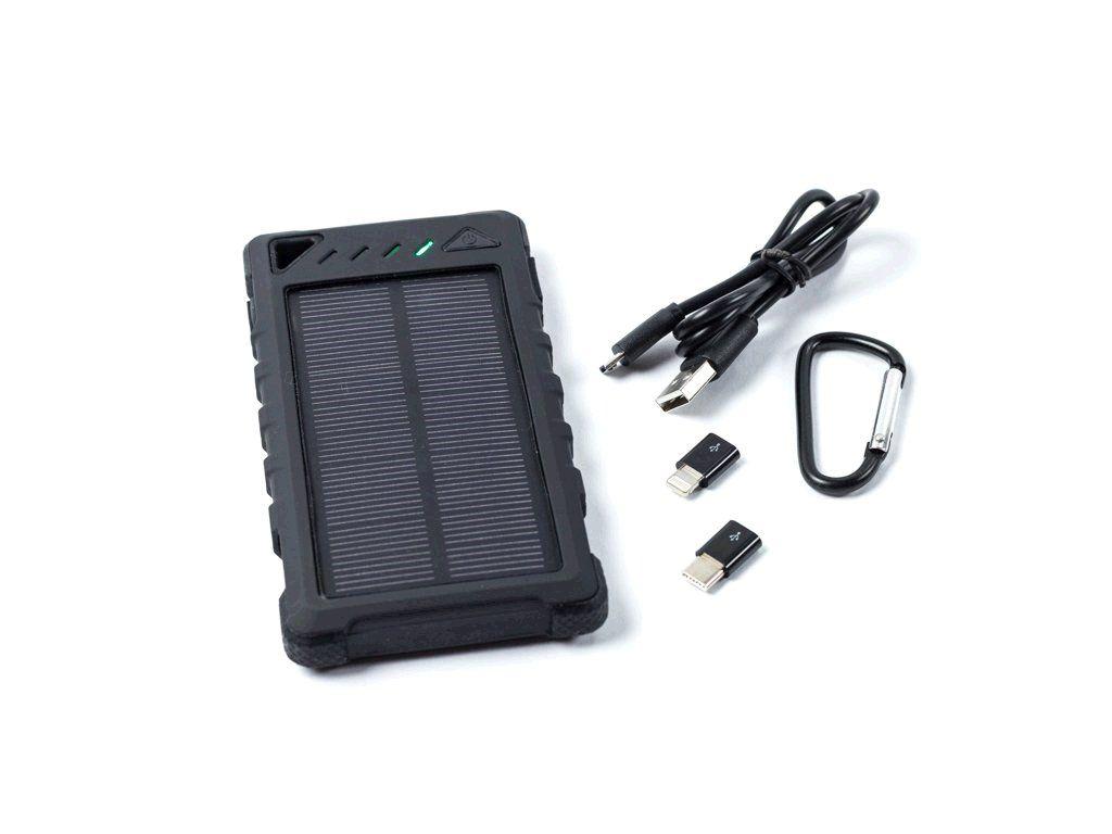 Powerbank DOCA Solar 8 8000 mAh, solární panel, svítilna, černá
