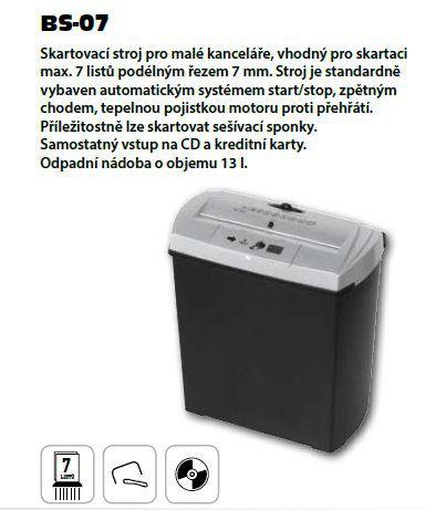 Skartovač AveTECH BS07 DIN 2, proužek 7mm, 6 listů, 13l, CD+DVD, Credit Card