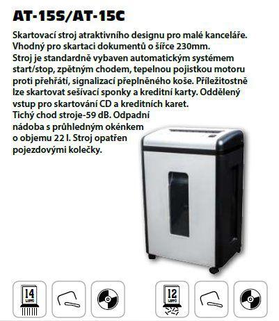 Skartovač AveTECH AT-15S DIN 2, proužek 4mm, 12 listů, 22l, CD+DVD, Credit Card, Sponky, NBÚ