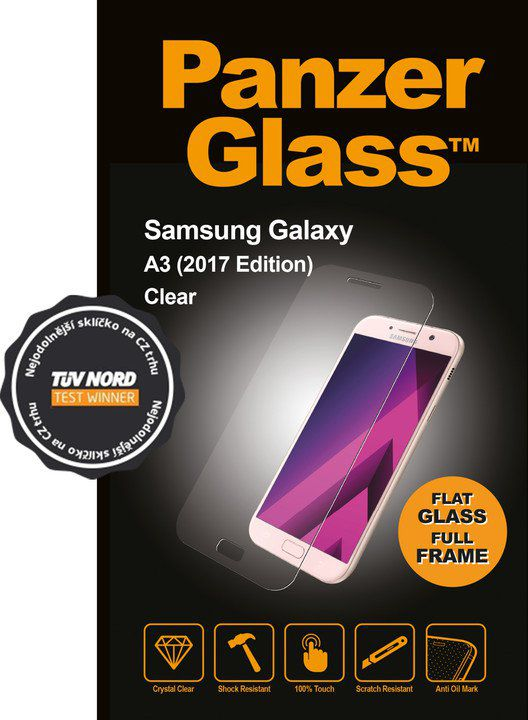 Tvrzené sklo PanzerGlass Edge-to-Edge pro Samsung Galaxy A3 (2017) čiré