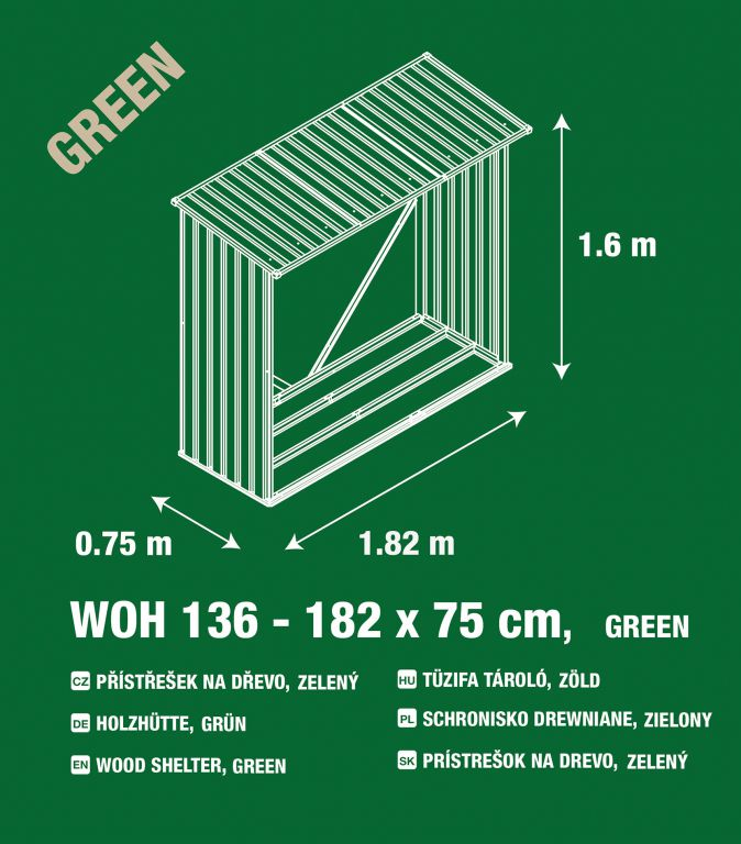 Přístřešek na dřevo  G21 - 136 x 182 x 75 cm, zelený