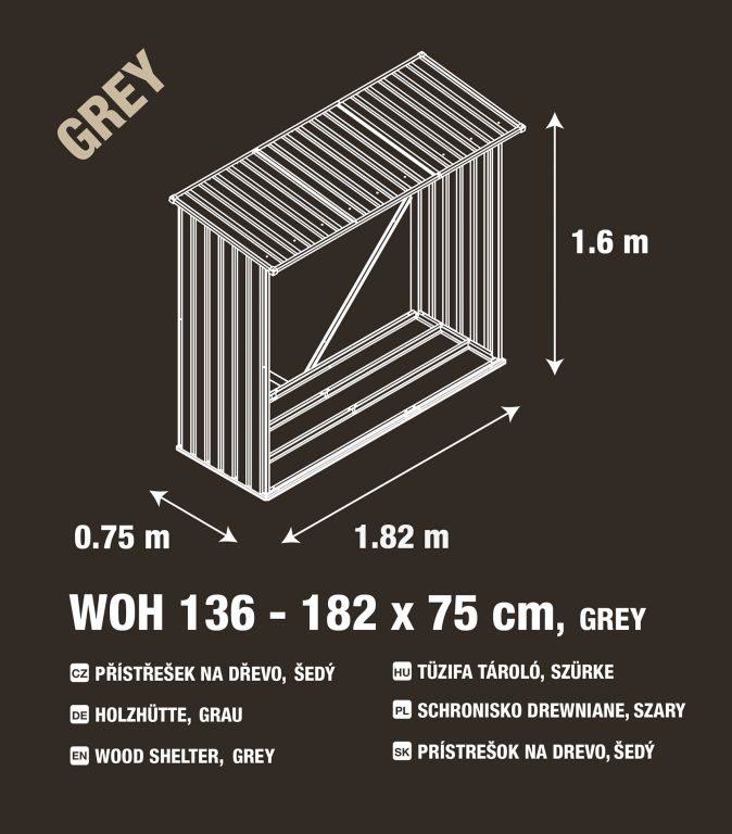 Přístřešek na dřevo  G21 WOH 136 - 182 x 75 cm