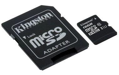 Paměťová karta Kingston microSDHC CL10 UHS-I 16GB, 80R + SD adaptér