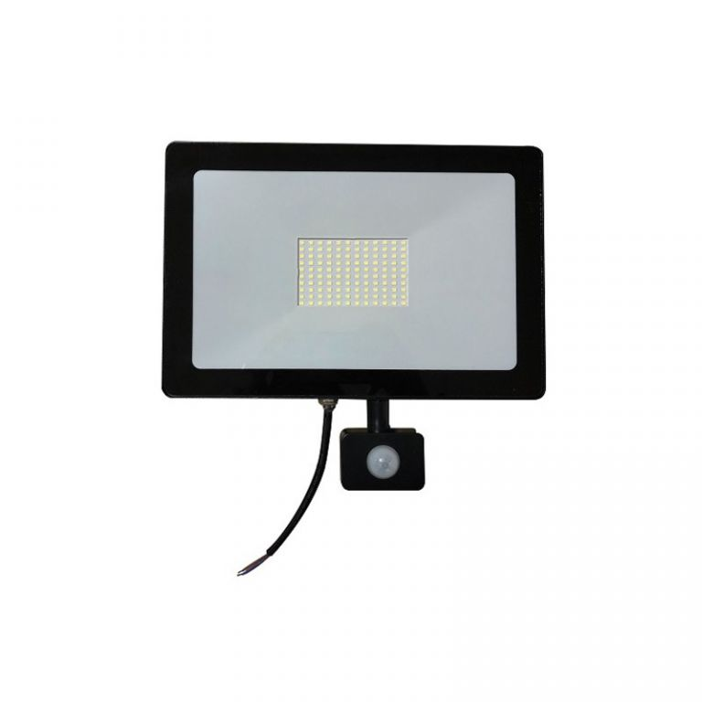 Reflektor Lumenmax LED FL100-SL-PIR venkovní s PIR čidlem, 100W, 8200lm, AC 230V, 6000K, černý