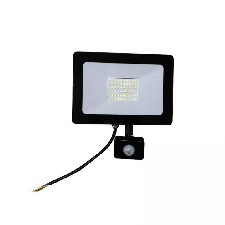 Reflektor Lumenmax LED FL50-SL-PIR venkovní s PIR čidlem, 50W, 4200lm, AC 230V, 6000K, černý