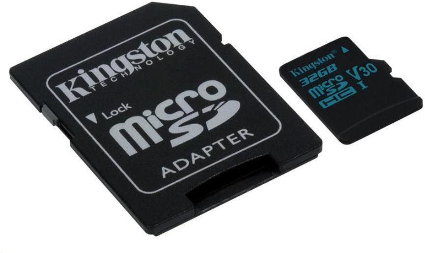 Paměťová karta Kingston microSDHC Canvas Go UHS-I U3 V30 32GB, 90R/45W + SD adaptér