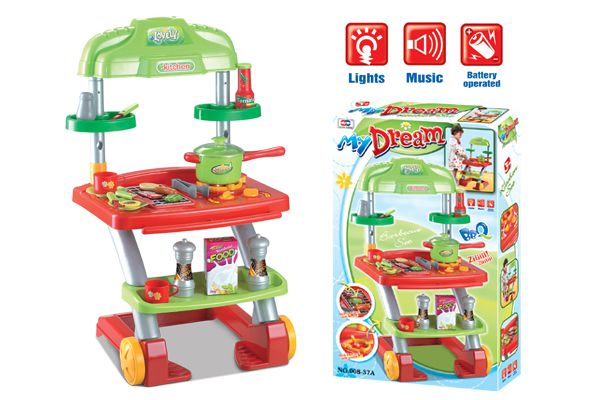 Hrací set G21 LOVELY letní kuchyňka s grilem na kolečkách