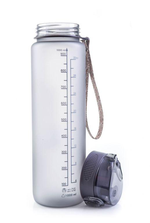 Láhev G21 na pití, 1000 ml, šedá-zmrzlá