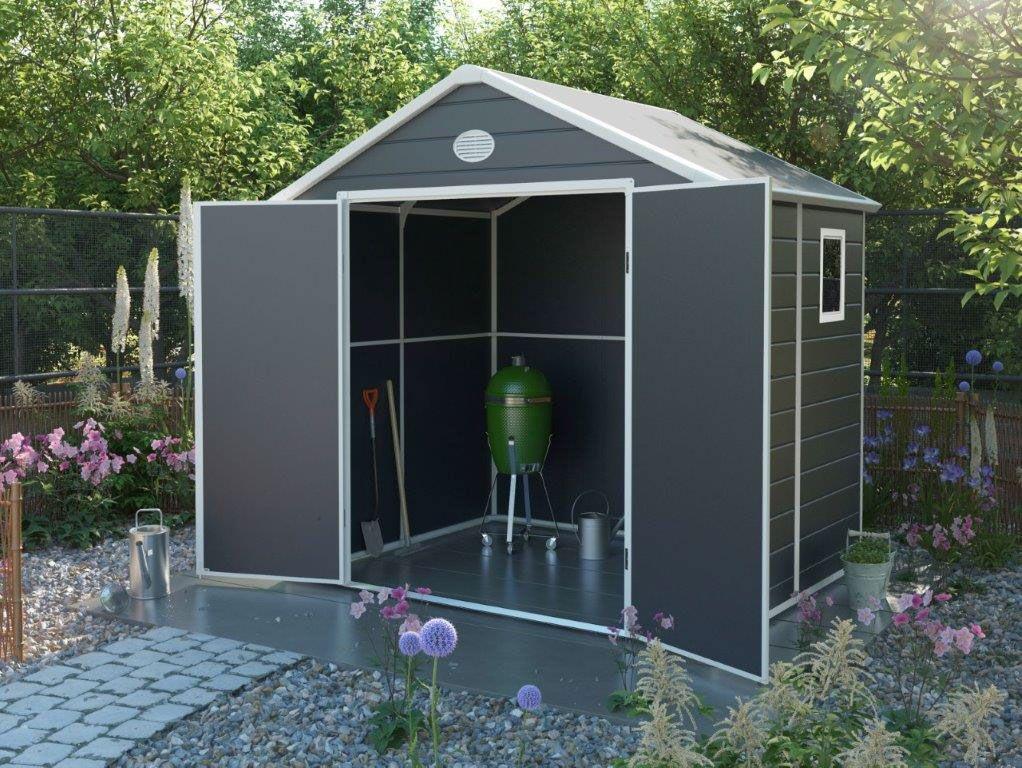 Zahradní domek G21 PAH 458 – 241 x 190 cm, plastový, šedý