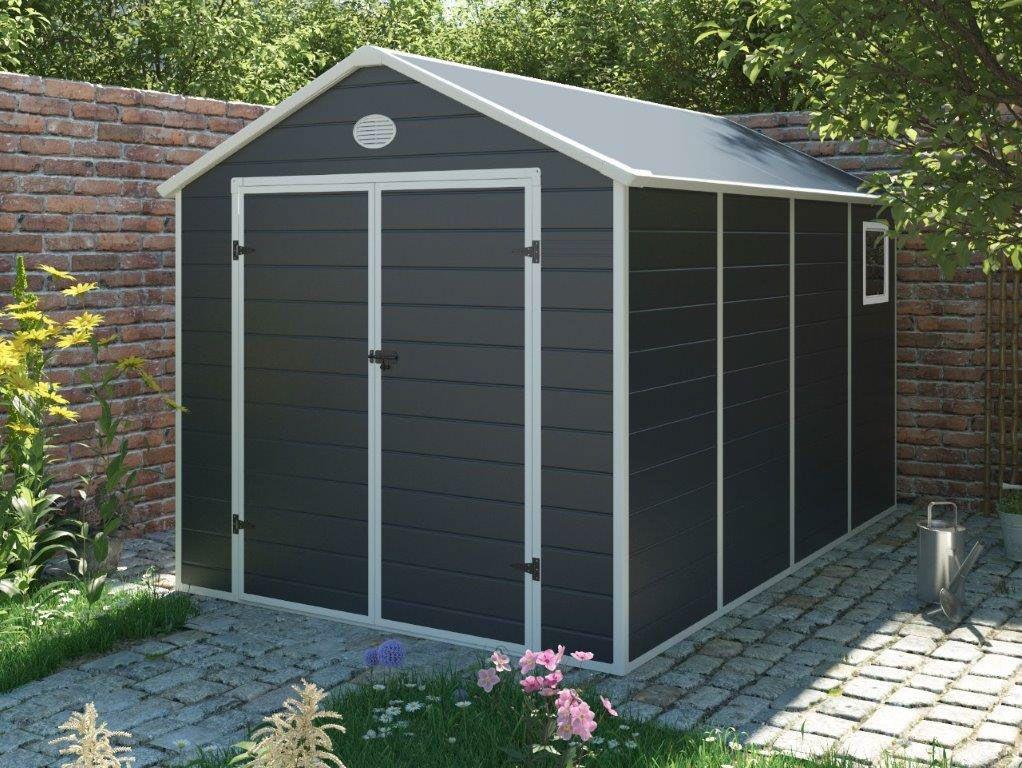 Zahradní domek G21 PAH 882 – 241 x 366 cm, plastový, šedý