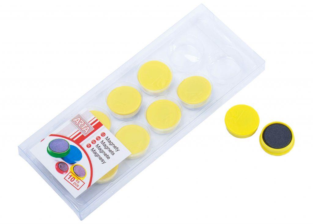 Sada magnetů ARTA průměr 25 mm – žluté, 10 ks