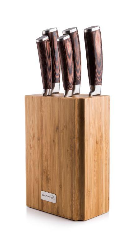 G21 Sada nožů Gourmet Nature, 5 ks + bambusový blok