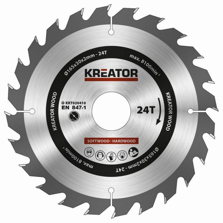 KREATOR KRT020411 Pilový kotouč na dřevo 165mm, 48T