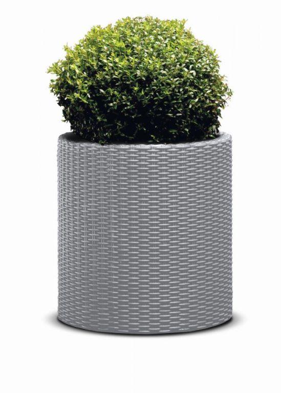 KETER Květináč Cylinder L – stříbrnošedá