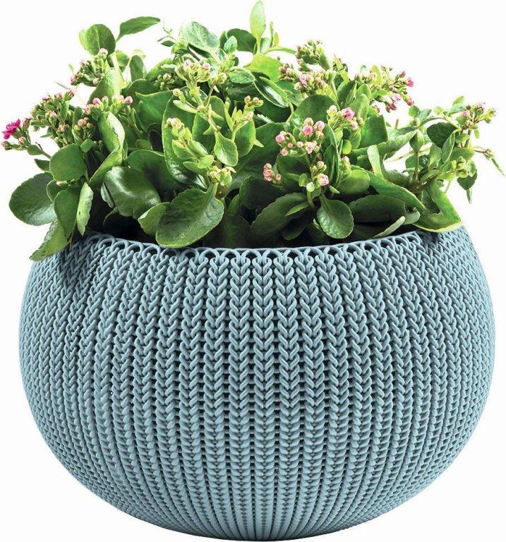 KETER Květináč COZY M závěsný – mlhavě modrá