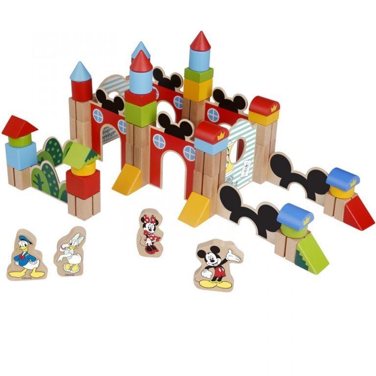 Disney dřevěné velké kostky 60 ks – Mickeyho hrad