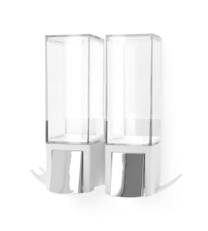 Dávkovač Compactor Edge mýdla / šampónu, nástěnný, chrom / ABS plast - bílý