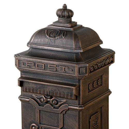 Dekorativní poštovní schránka antik - tmavá mosaz