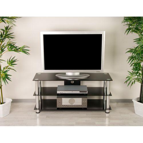 Televizní skleněný stolek NOBLE černý