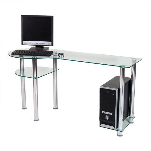 Skleněný počítačový stůl BASIC průhledný
