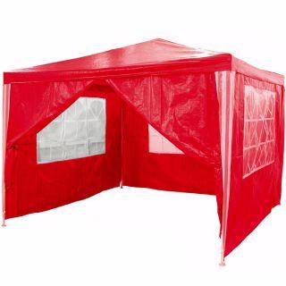Zahradní párty stan - červený 3 x 3 m + 4 boční stěny