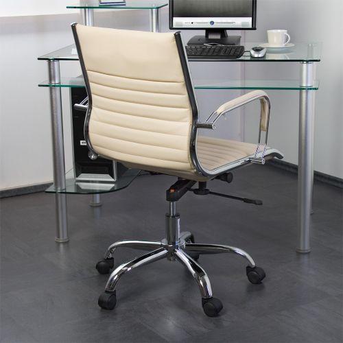 Kancelářská otočná židle - krémová kožený vzhled
