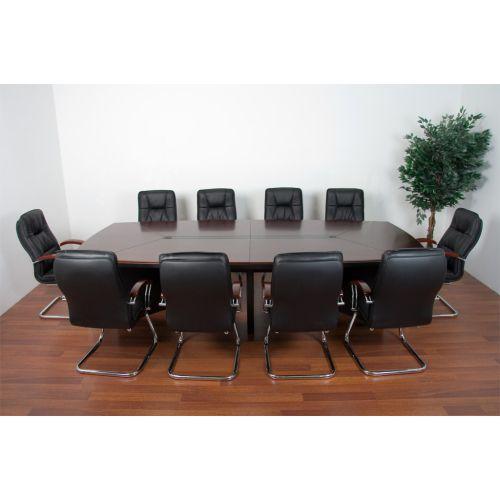 Konferenční stůl + 10 kožených křesel