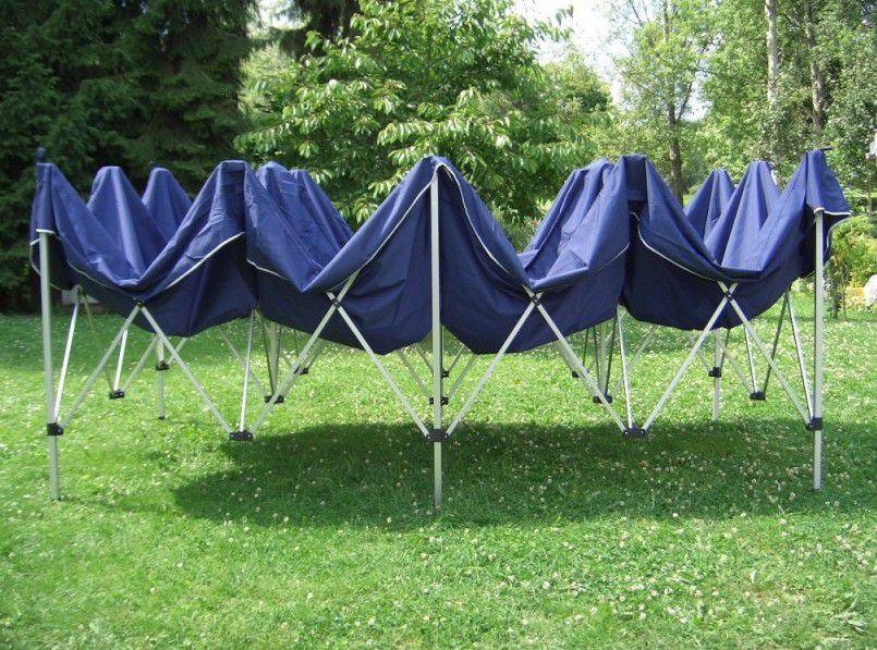 Zahradní párty stan - modrý 3 x 6 m + boční díly