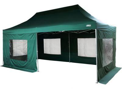 Zahradní párty stan - zelený 3 x 6 m + boční díly