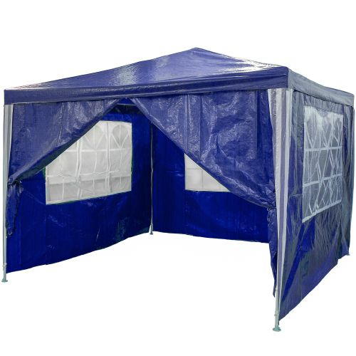 Zahradní párty stan - modrý 3 x 3 m + 4 boční díly