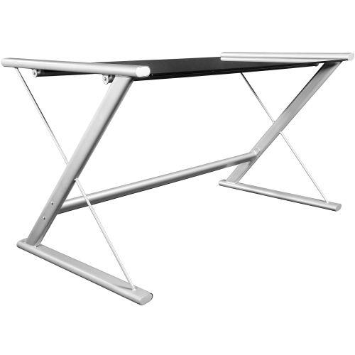 Skleněný počítačový stůl designe Z s černou deskou