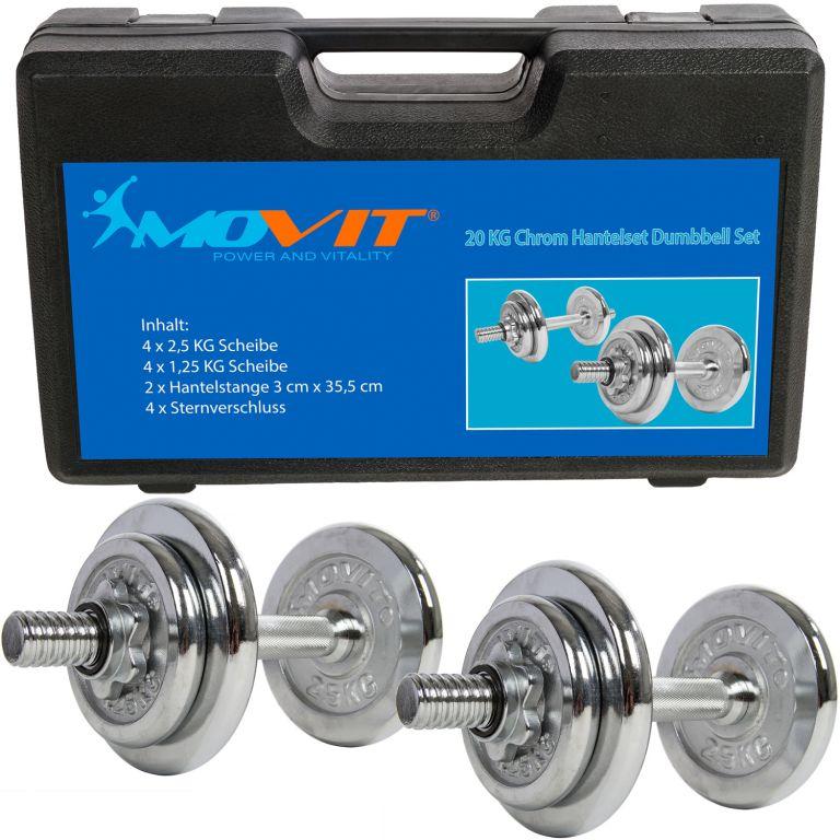 Činkový set MOVIT 20 kg –  2 činky chrom