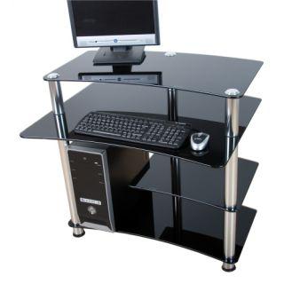 Skleněný počítačový stůl ELEGANT s černým sklem