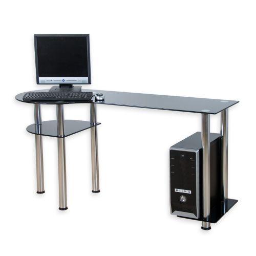 Skleněný počítačový stůl BASIC černý