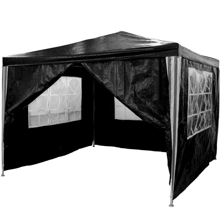 Zahradní párty stan - černý 3 x 3 m + 4 boční stěny