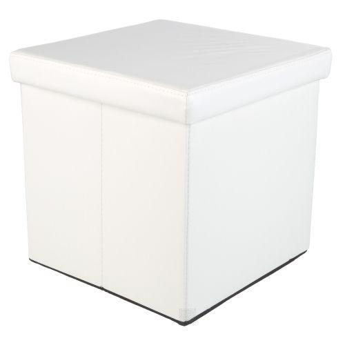 Taburet s úložným prostorem, bílý