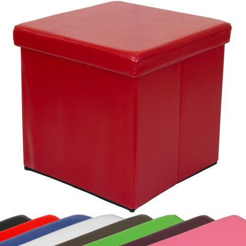 Taburet s úložným prostorem tmavě červený