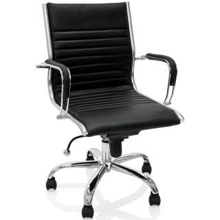 Kancelářská otočná židle - černý kožený vzhled