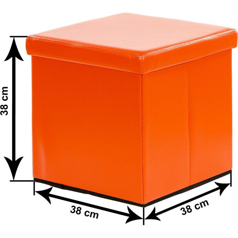 Taburet s úložným prostorem, oranžová