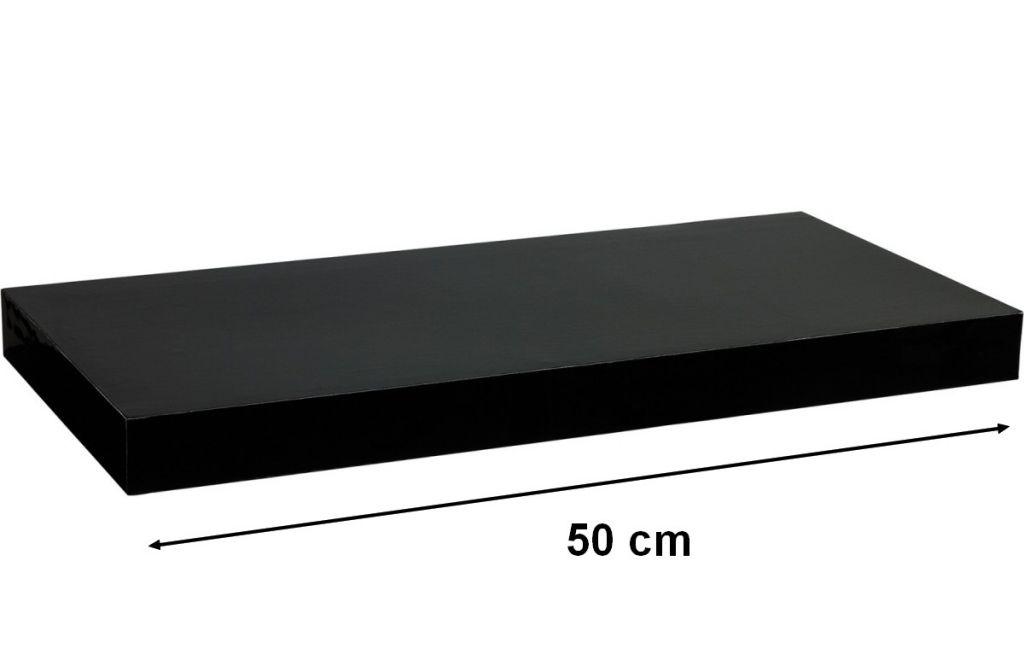 Nástěnná police STILISTA VOLATO - lesklá černá 50 cm