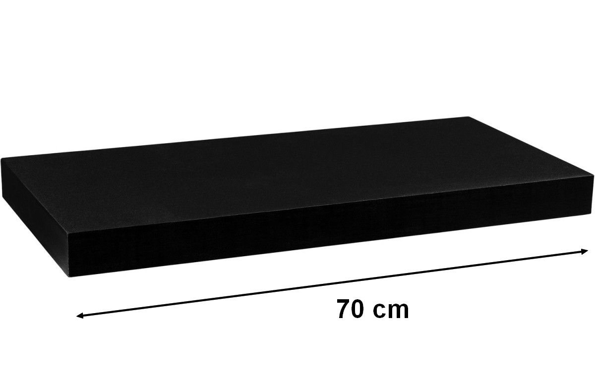 Nástěnná police STILISTA VOLATO - matná černá 70 cm