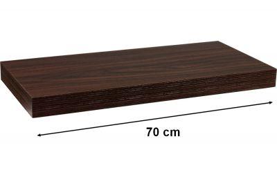 Nástěnná police STILISTA VOLATO - tmavé dřevo 70 cm