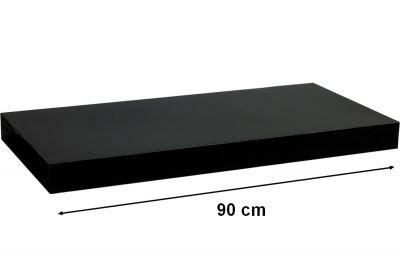 STILISTA VOLATO Nástěnná police  - lesklá černá 90 cm
