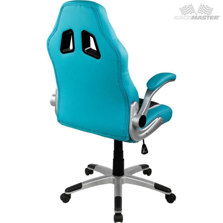 Otočná kancelářská židle GT RACER - sv. modrá/černá/bílá