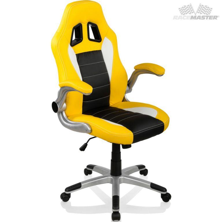 Otočná kancelářská židle GT-Racer - žlutá/černá/bílá